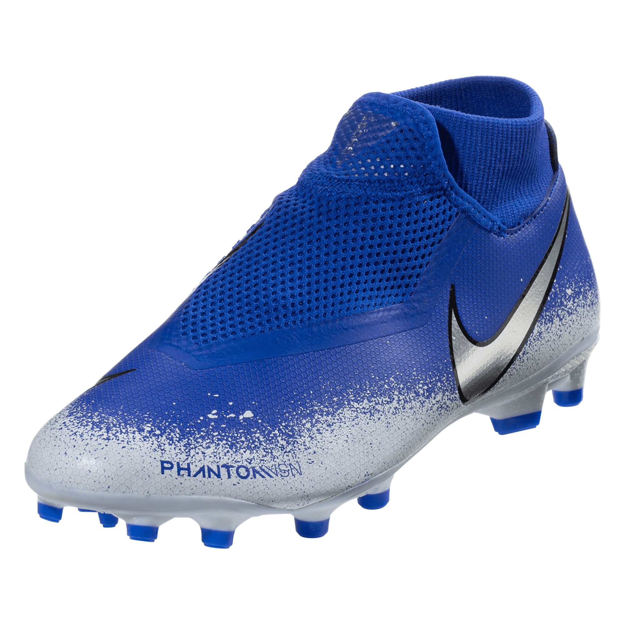 Nike Phantom Vision Academy DF FG/MG Firm Ground Soccer Cleat - Racer Blue / Chrome / White /Black