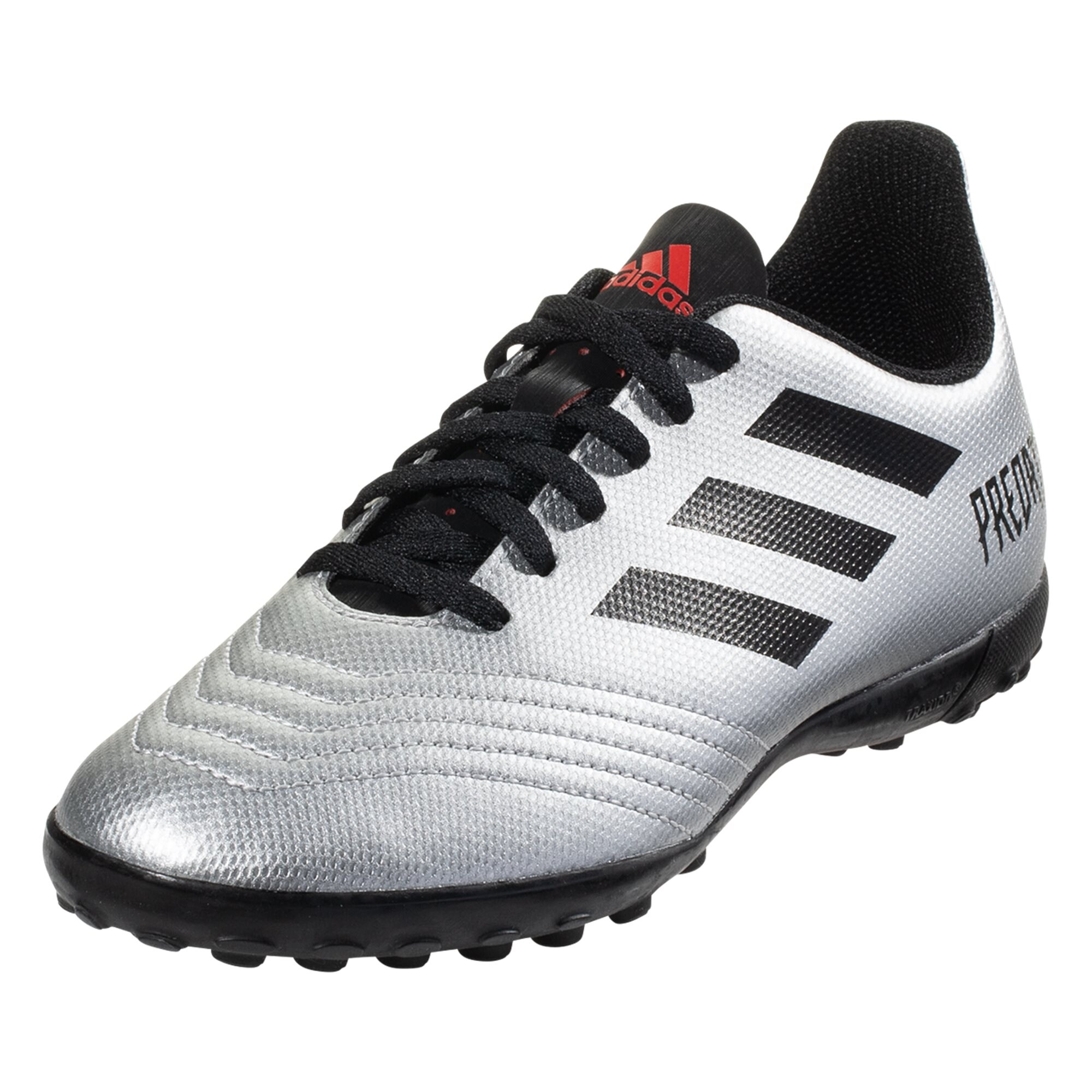 adidas Predator 19.4 TF Artificial Turf Shoe - Metallic Silver/Black/Hi-Res Red