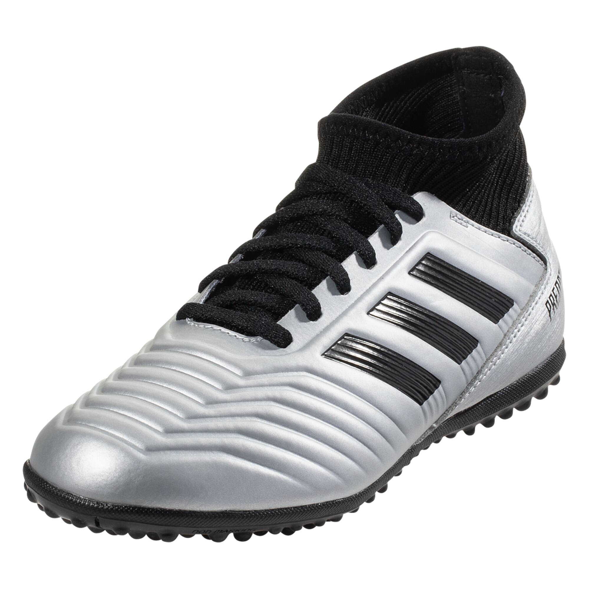 adidas Junior Predator Tango 19.3 TF Turf Soccer Shoe - Metallic Silver / Black / Hi-Res Red