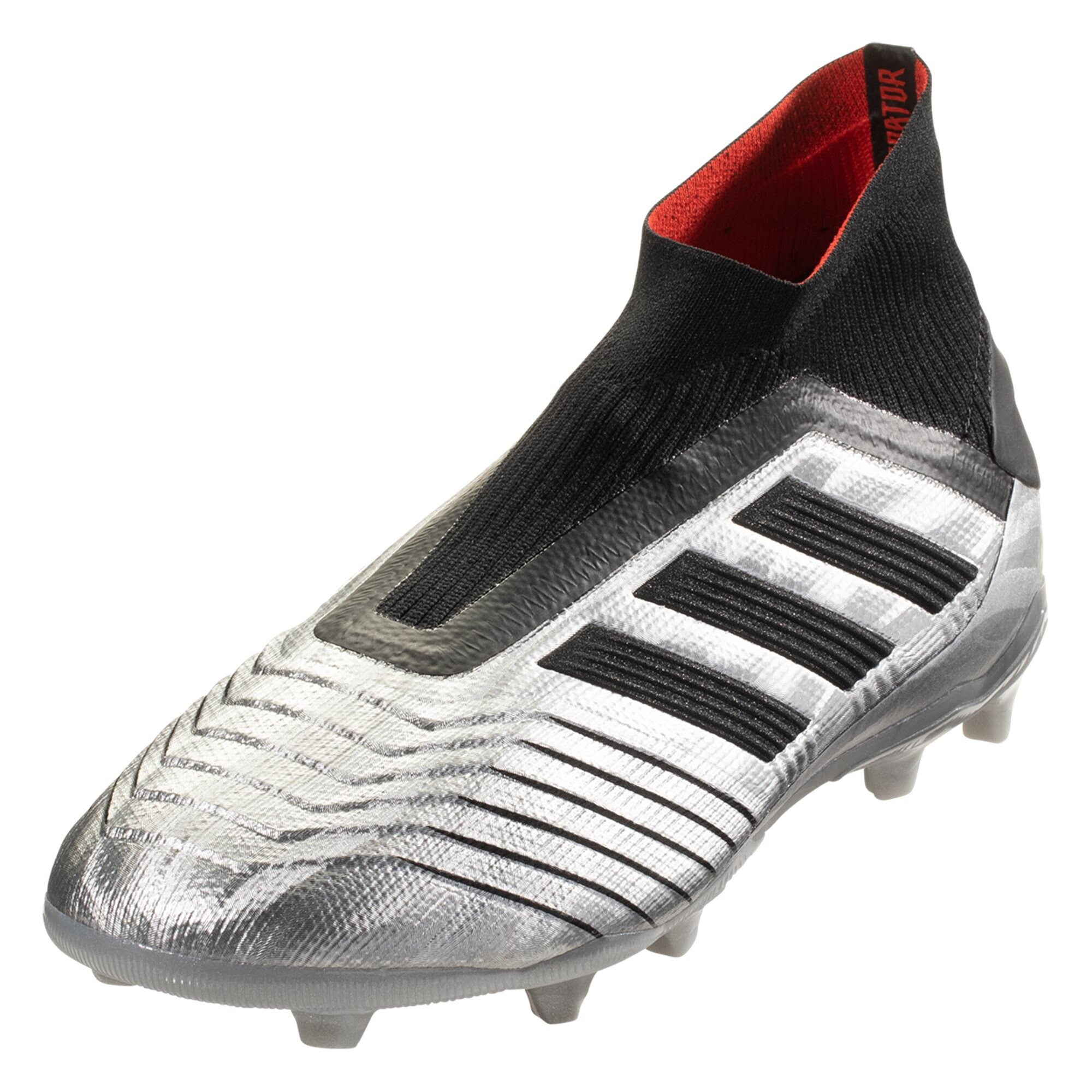 33e40b403 adidas Predator 19+ FG Junior Soccer Cleat – Metallic Silver   Black   Hi-Res  Red