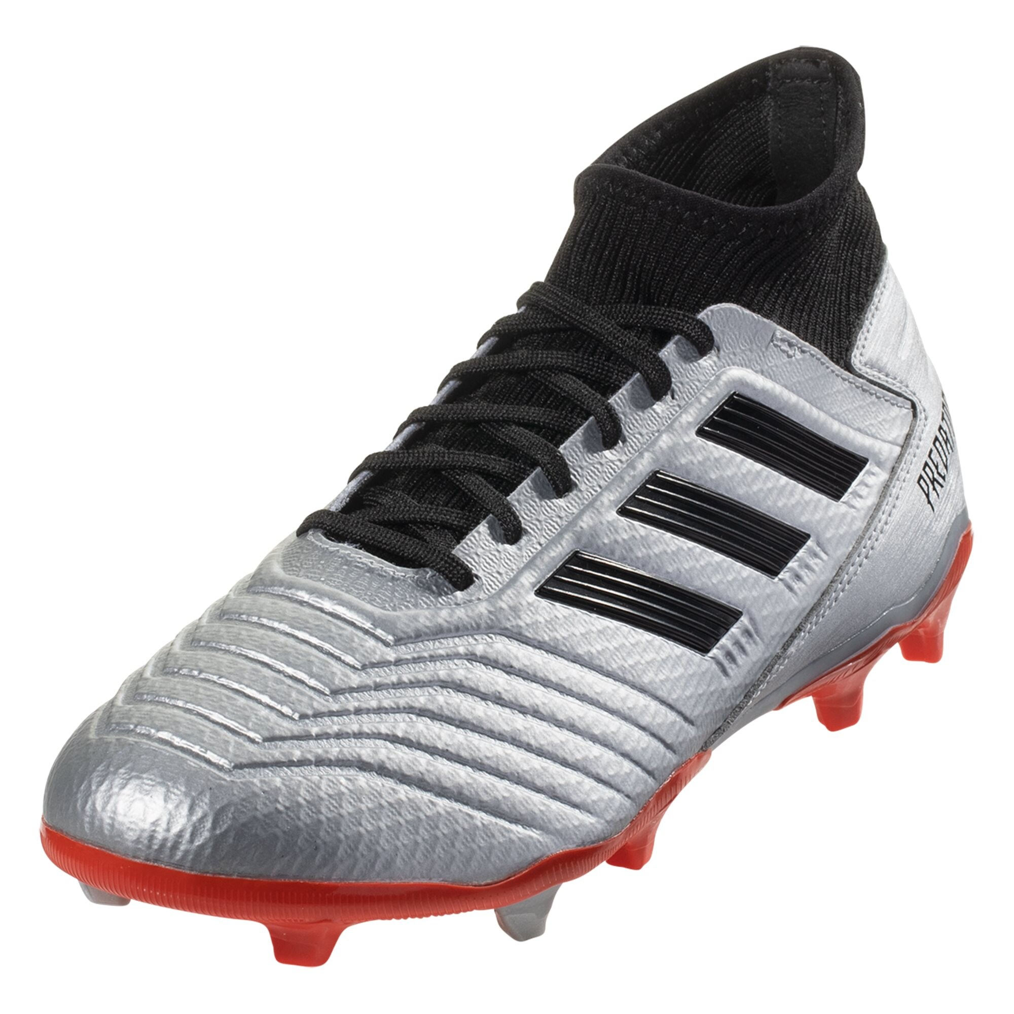 adidas Predator 19.3 FG Soccer Cleat - Metallic Silver / Black / Hi-Res Red