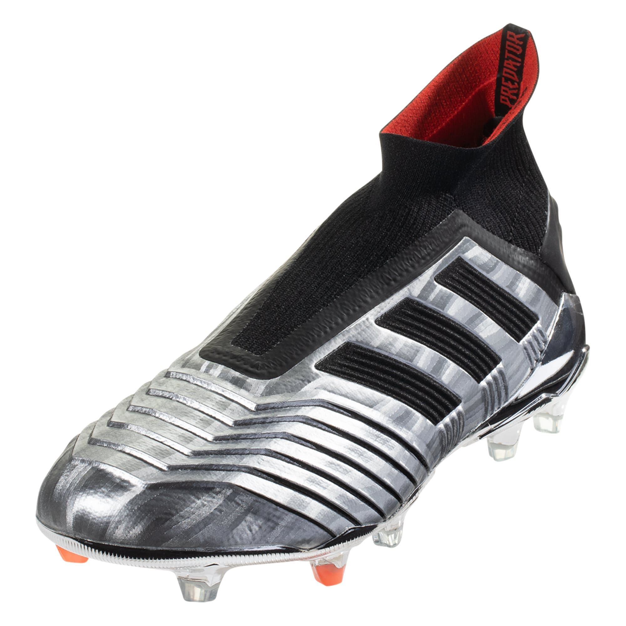 adidas Predator 19+ FG Firm Ground Soccer Cleat - Metallic Silver / Black / Hi-Res Red