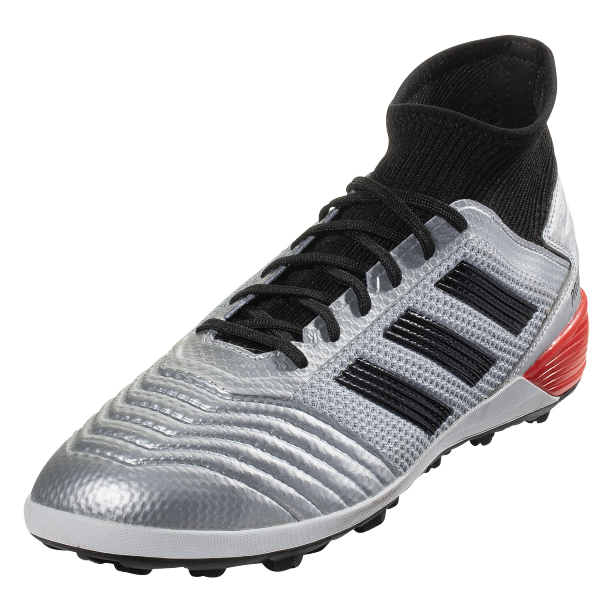adidas Predator Tango 19.3 TF Artificial Turf Soccer Shoe - Metallic Silver / Black / Hi-Res Red