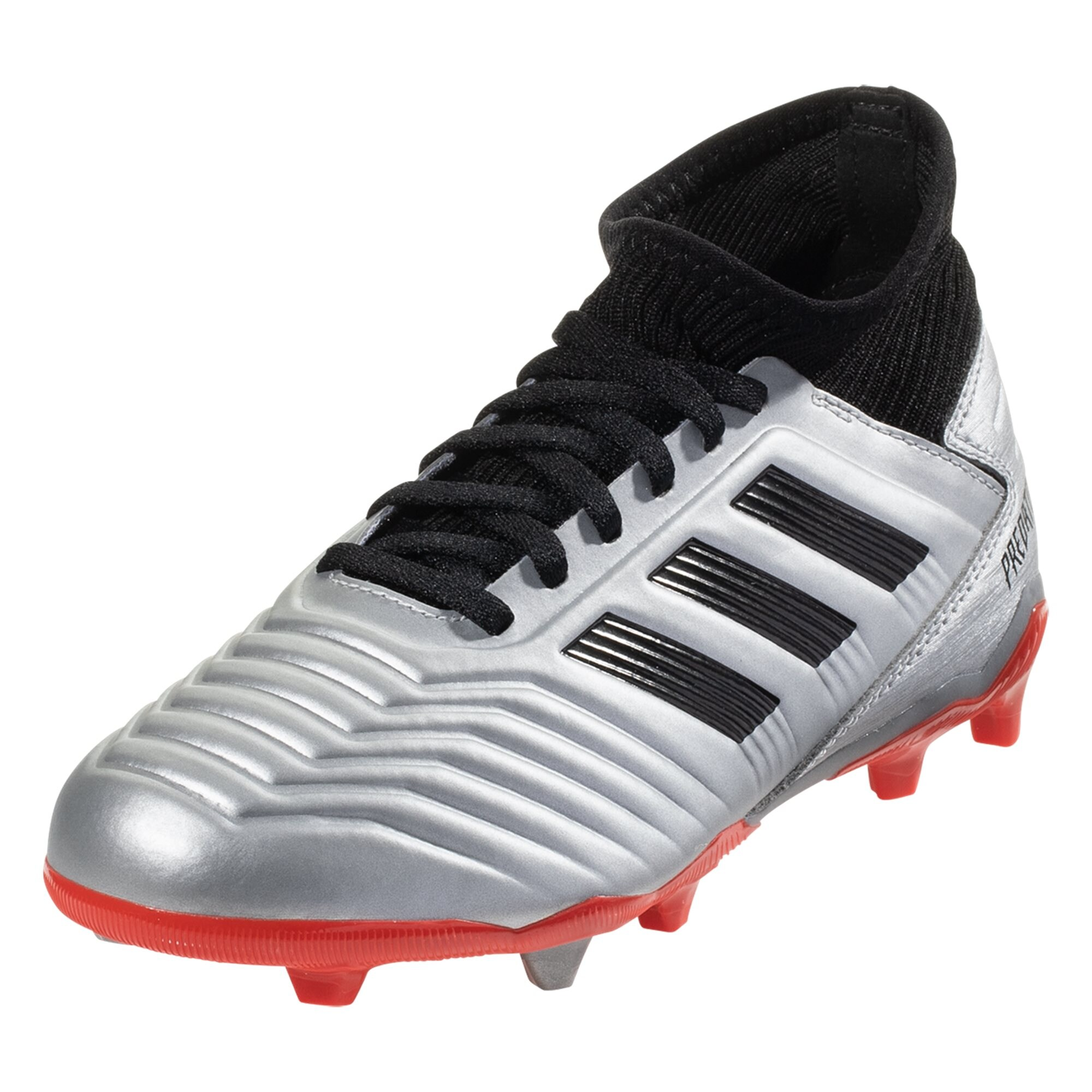 adidas Predator 19.3 FG Junior Soccer Cleat - Metallic Silver / Black / Hi-Res Red
