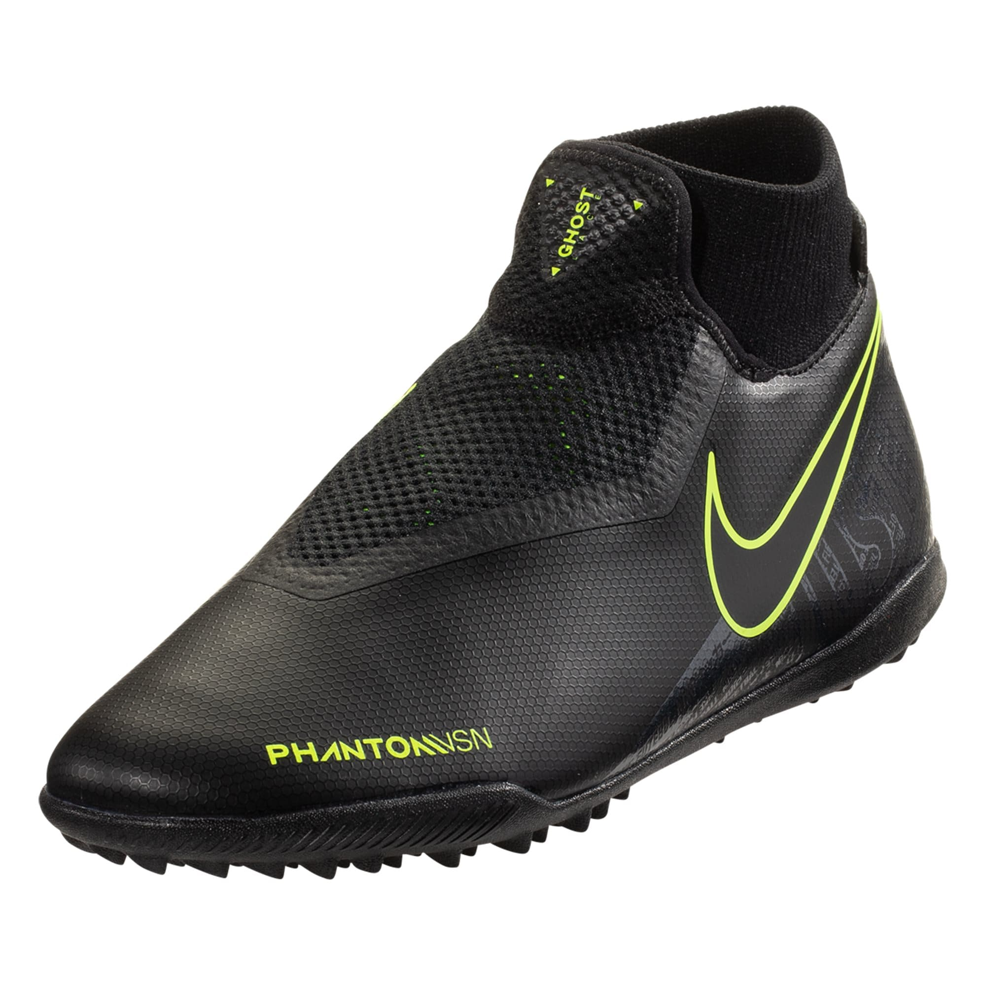 Nike Phantom Vision Academy DF TF Artificial Turf Soccer Shoe - Black / Black/Volt