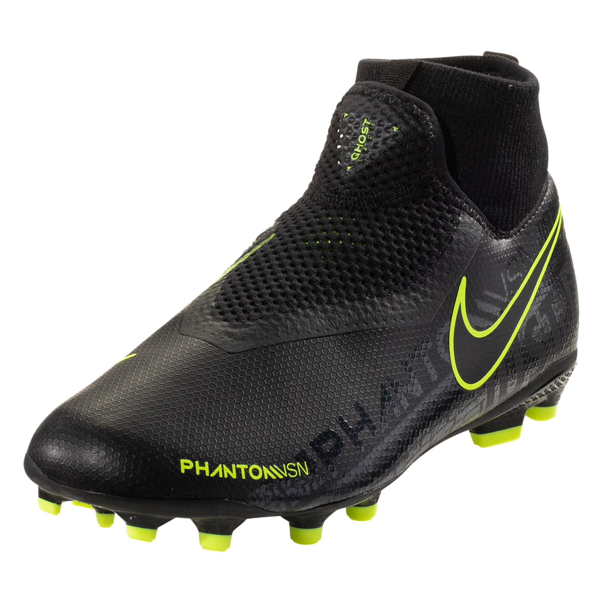 Nike Phantom Vision Academy DF FG/MG Firm Ground Soccer Cleat - Black / Black/Volt