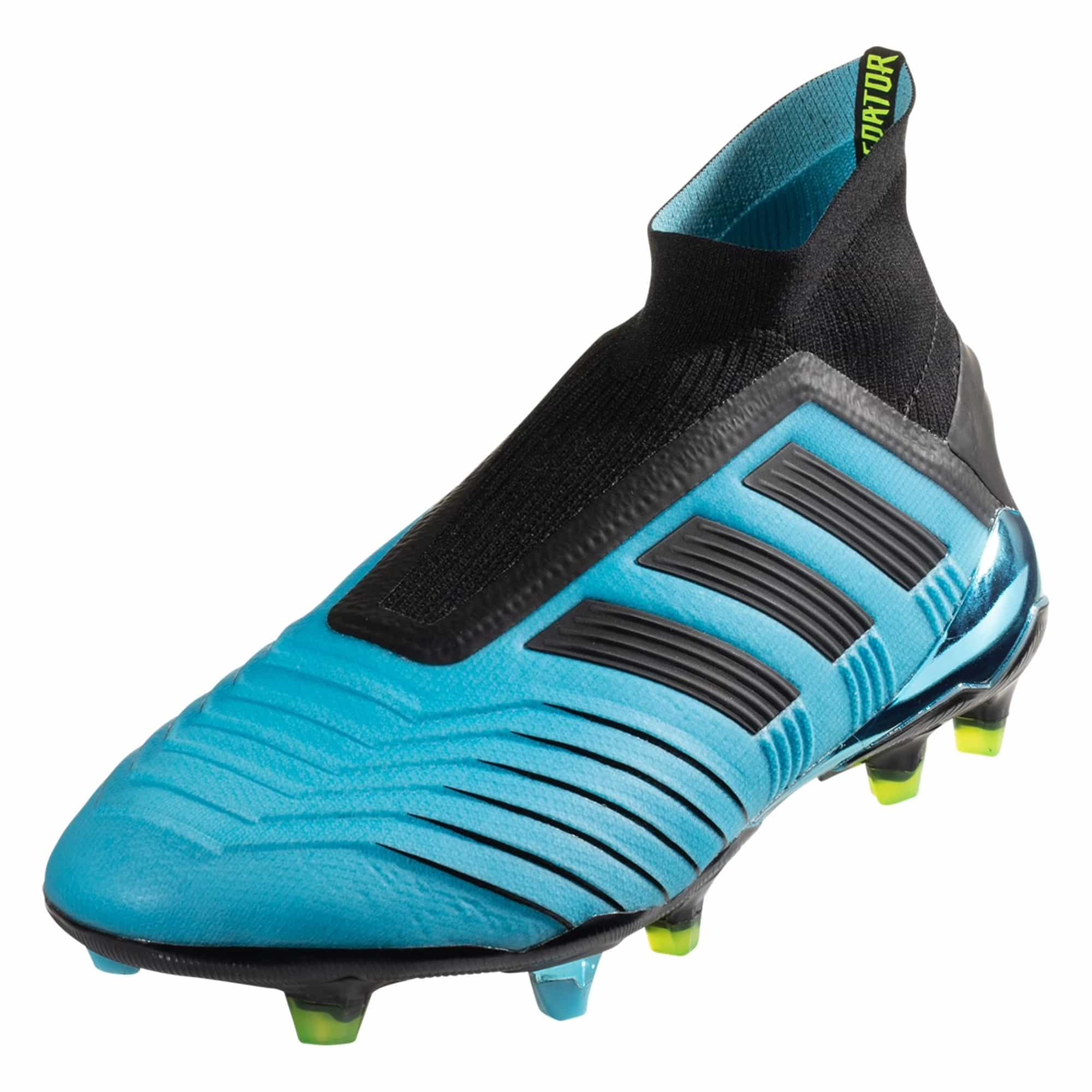 adidas Predator 19+ FG Soccer Cleat - Cyan / Black / Solar Yellow
