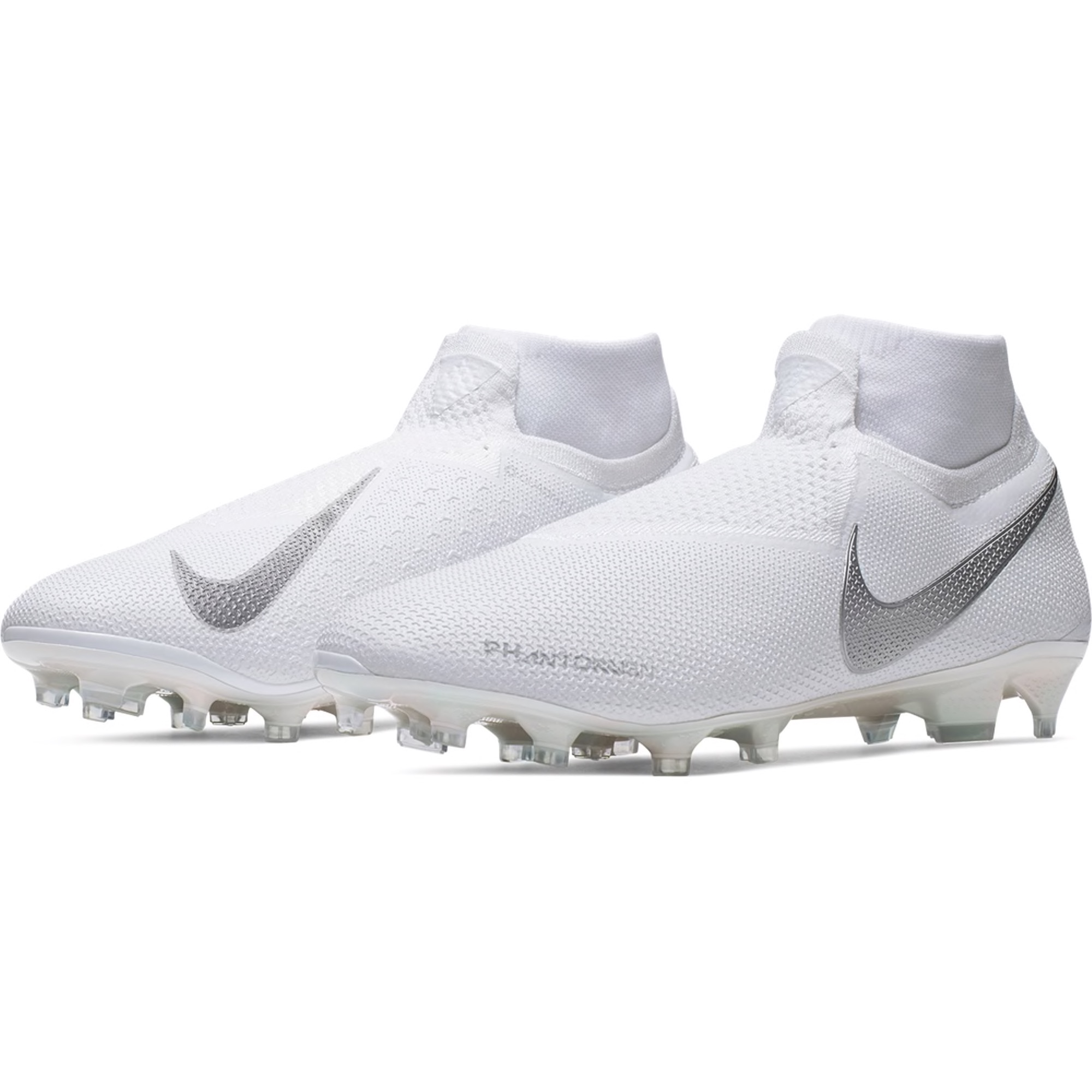 Nike Phantom Vision Elite DF FG Firm Ground Soccer Cleat - White / White / Metallic Platinum