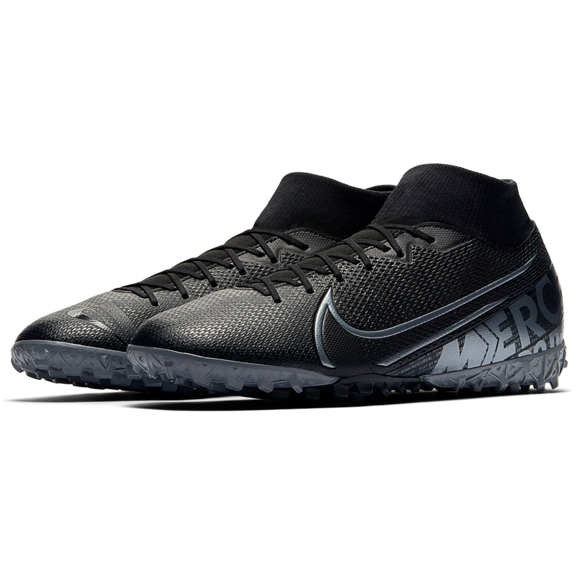 Nike Junior Mercurial Superfly 7 Academy TF Soccer Shoe - Black / Metallic Grey / Grey