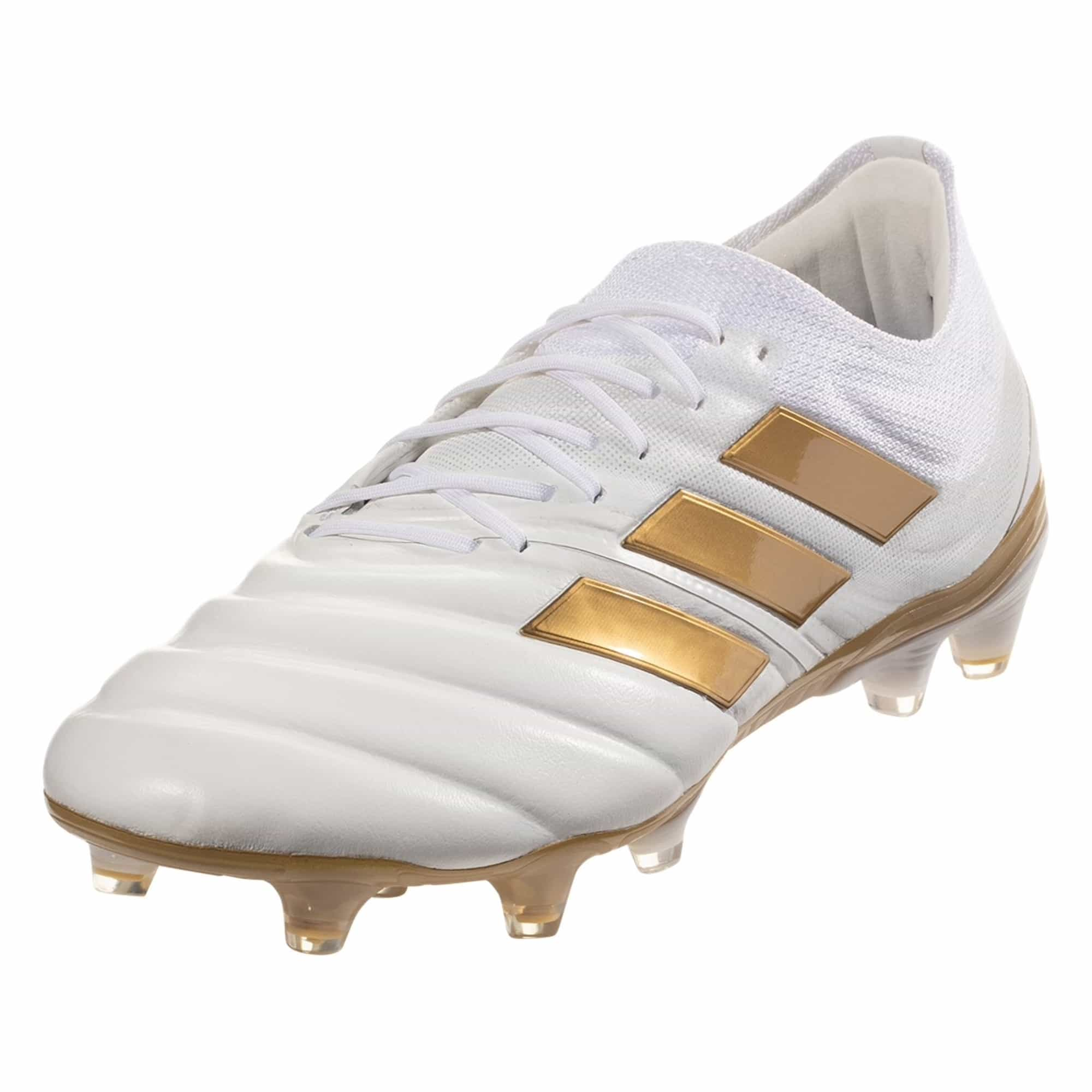 adidas Copa 19.1 FG Firm Ground Soccer Cleat - White / Metallic Gold / Blue