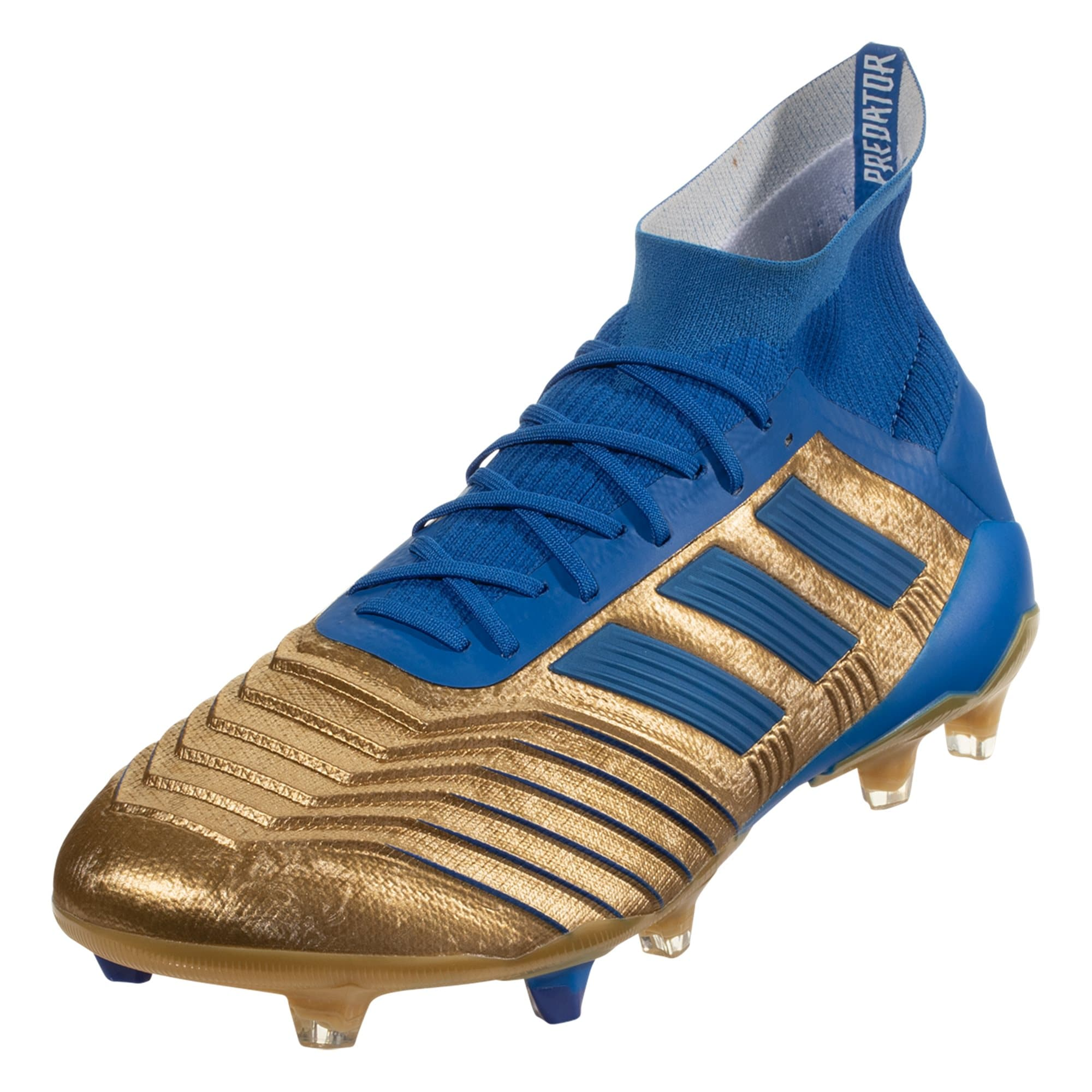 adidas Predator 19.1 FG Soccer Cleat - Metallic Gold / Blue / White