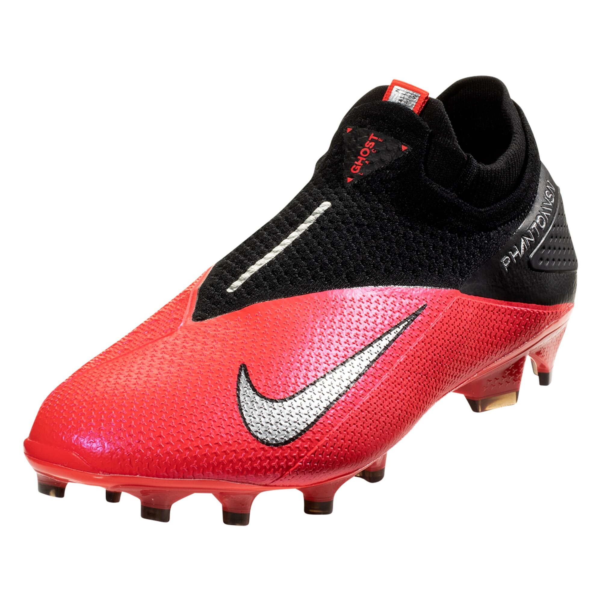 Nike Phantom Vision 2 Elite DF FG Firm Ground Soccer Cleat - Laser Crimson / Metallic Silver / Black